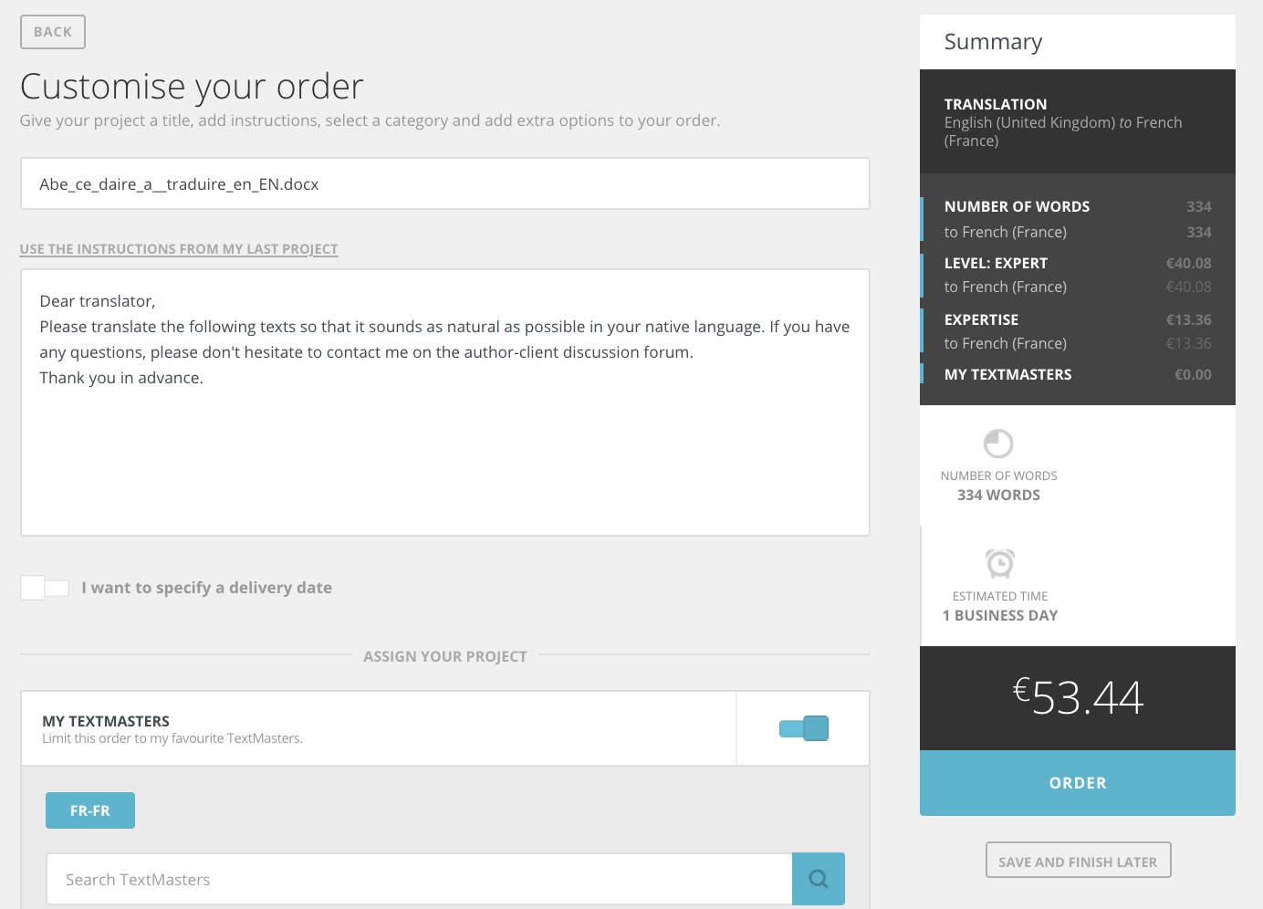 customise order